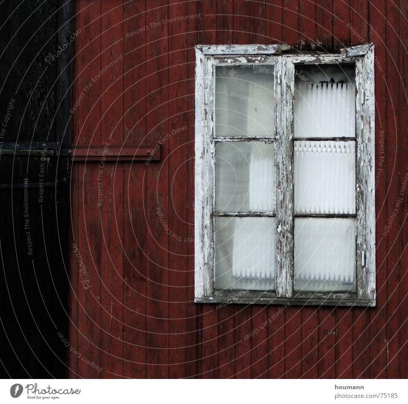 Nicht heraus schauen Wand Holzhaus rot Dänemark Fenster schwarz getragen Detailaufnahme verfallen old window red black worn wood house alt