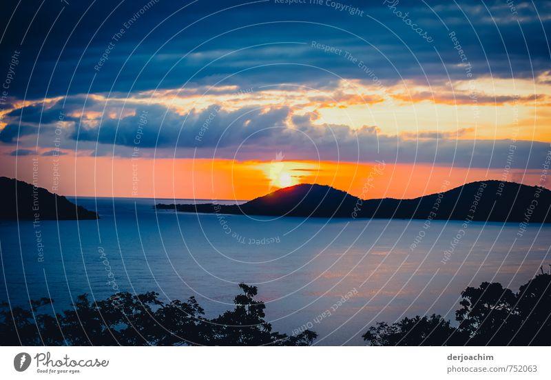 Sunset Himmel Ferien & Urlaub & Reisen blau grün weiß Wasser Sommer Meer Landschaft ruhig schwarz Glück Stein außergewöhnlich Sand Zufriedenheit