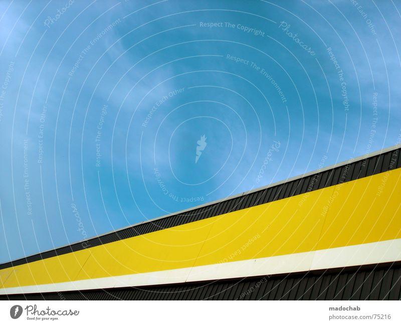 SIMPLE Himmel blau Farbe Wolken Haus Fenster gelb Leben Architektur Gebäude Freiheit fliegen oben Arbeit & Erwerbstätigkeit Wohnung Design