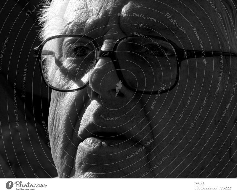 beobachten Glas Senior skeptisch Konzentration Kraft Mann Porträt Großvater Licht Brille alt intensiv Wachsamkeit fixieren Blick Mensch zielstrebig Gesicht