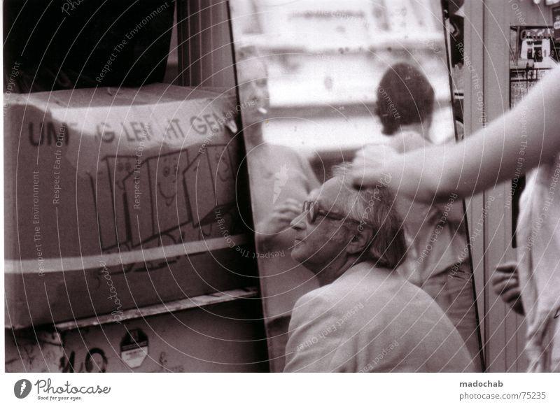 SORRY Mensch Mann alt Sommer Gesicht Leben Brille Kommunizieren Spiegel Umzug (Wohnungswechsel) Schönes Wetter Karton Friseur Markt Typ Kiste