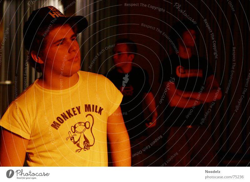 Big Head Mensch rot gelb Stimmung Beleuchtung T-Shirt Konzert Baseballmütze