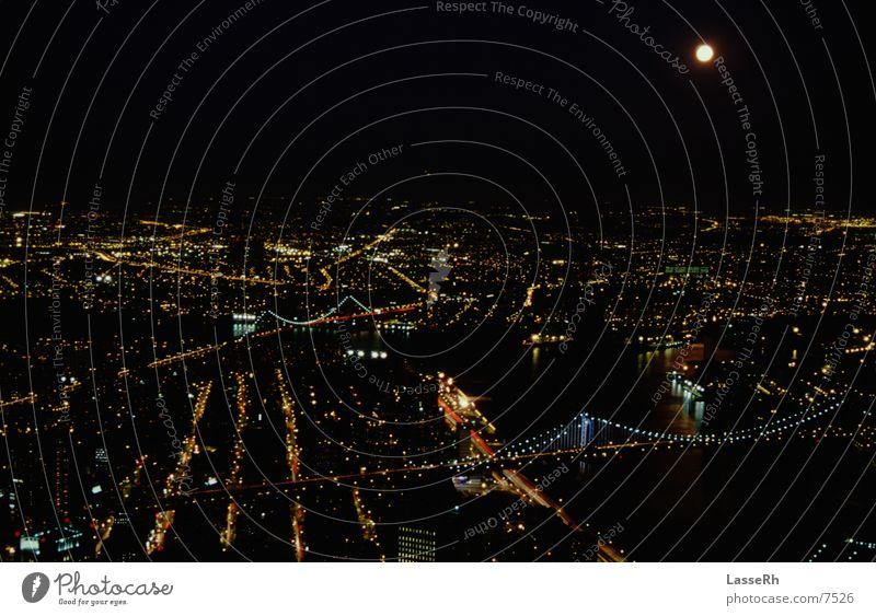 NewYork 3 New York City Nacht Aussicht Nordamerika Mond Licht Grosstadt Brücke