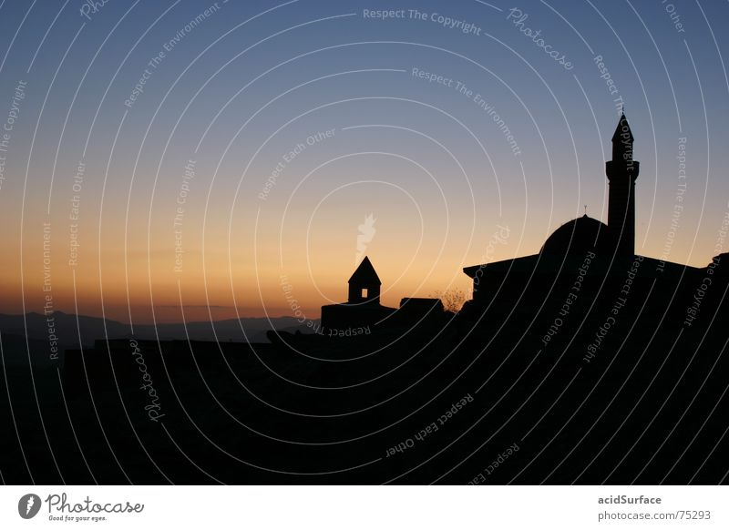 Ishak Pasha Saray Türkei Moschee Gebet Minarett Religion & Glaube Moslem Sonnenuntergang Iran Kultur Denken Alabaster Moschee dogubayazit Silhouette nachdenken