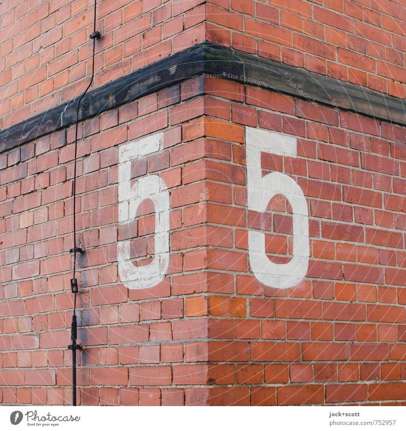 5eck Wand Mauer Gebäude Fassade orange groß paarweise Ecke retro Grafik u. Illustration planen Ziffern & Zahlen historisch Ziel fest Wachsamkeit