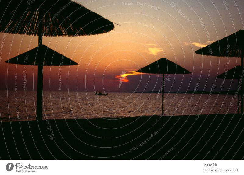 Sonnenuntergang Strand Wasser Strand Wasserfahrzeug Griechenland Fischer Beruf