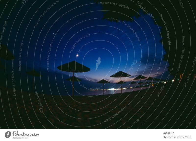 Sonnenuntergang am Strand Nacht dunkel Griechenland Fischauge Stern