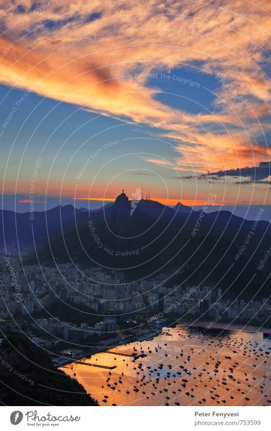 Rio de Janeiro 16 Natur Landschaft See Brasilien Amerika Südamerika Stadt Sehenswürdigkeit Stimmung ruhig Cristo Redentor Corcovado-Botafogo Bucht Wolken