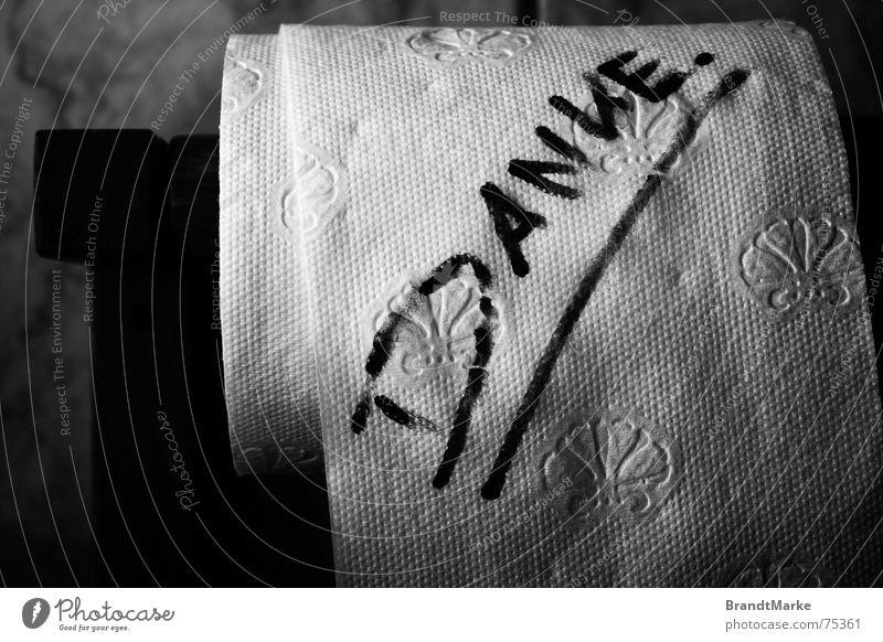 Danke. Toilettenpapier Bad Typographie Wort danke schön Handschrift Rolle Blume schreiben