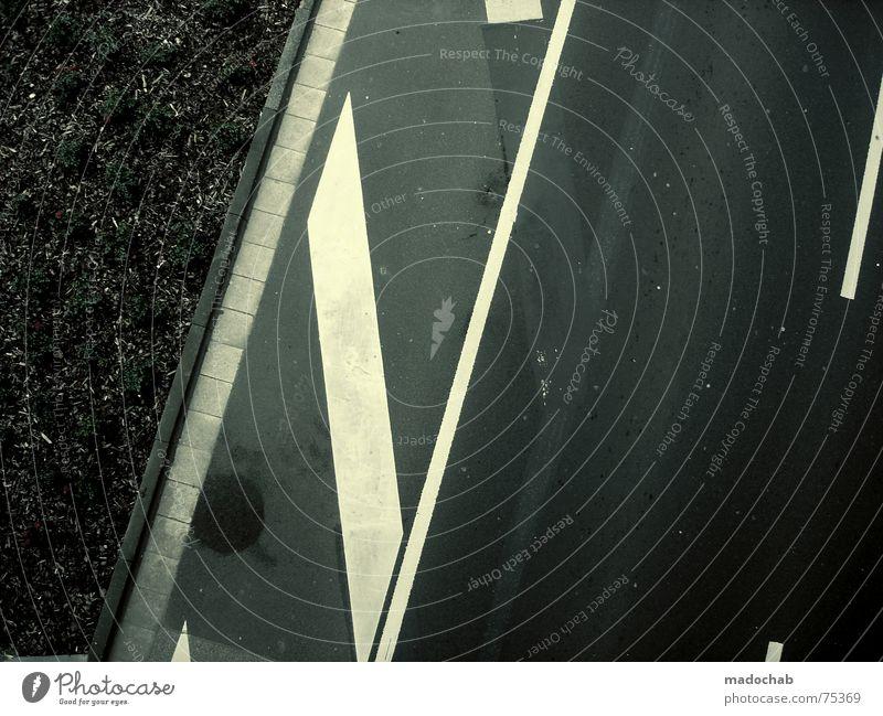 DESIGNED TRAFFIC Asphalt abbiegen Verkehr links Blume Natur grau unten Fußgänger trist Muster Hintergrundbild Strukturen & Formen Quadrat graphisch weiß mono