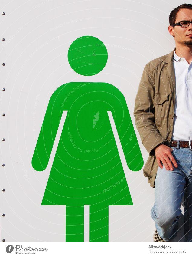 Mein Mädchen und ich Frau Mann Paar warten paarweise stehen Hinweisschild Toilette Strichmännchen Platzhalter Stuhlgang