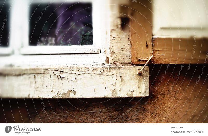 braunmitbeigeundeinemticklila weiß dunkel Holz braun Fassade Feder violett fest beige Splitter Fensterladen Fensterbrett