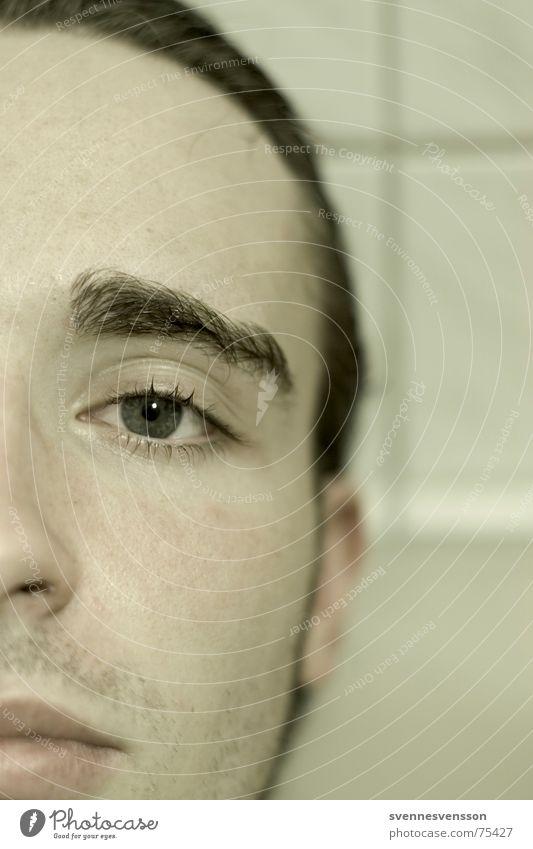 Standardanschnitt nach DIN PC 1505 Mensch Gesicht Auge Traurigkeit Haut Nase Trauer trist Augenbraue Bartstoppel Barthaare