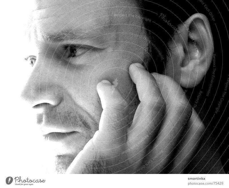 Melankomisch Mann Sonne Gesicht Traurigkeit Trauer beobachten machen Verzweiflung Porträt