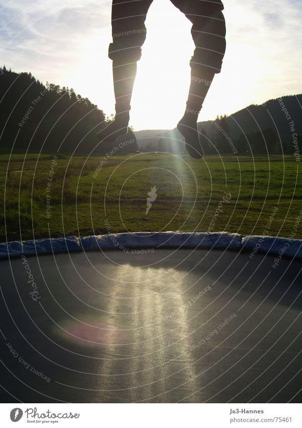 Abflug springen hüpfen Trampolin Unterleib Hose Strümpfe Schwarzwald Wald Wiese Abendsonne Athlet Leben abgehoben Beginn Abheben sprungtuch Beine Fuß Sonne