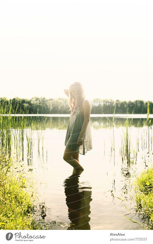 Lichtgestalt Jugendliche schön Junge Frau 18-30 Jahre Erwachsene Wärme Gras natürlich Freiheit See träumen Körper Idylle blond frei stehen