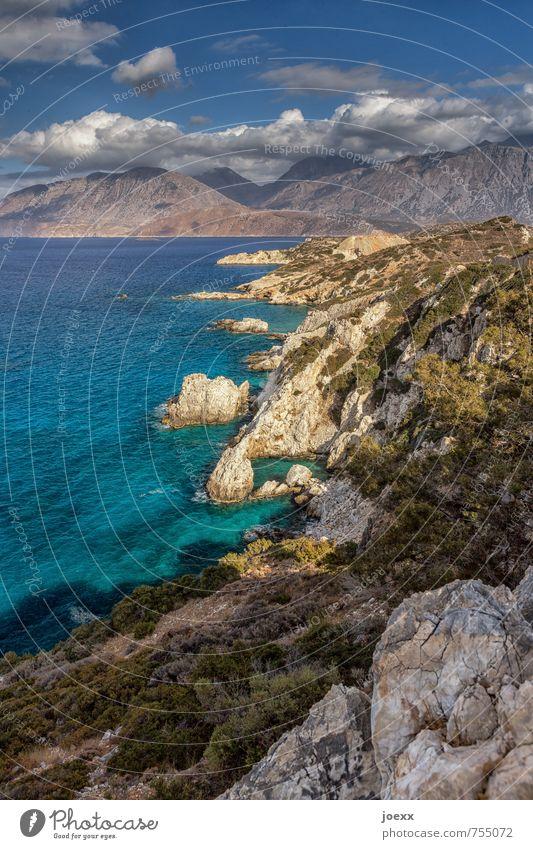 Ausblick Himmel Ferien & Urlaub & Reisen blau grün weiß Wasser Sommer Meer Landschaft Wolken Ferne Berge u. Gebirge Küste Freiheit braun wild