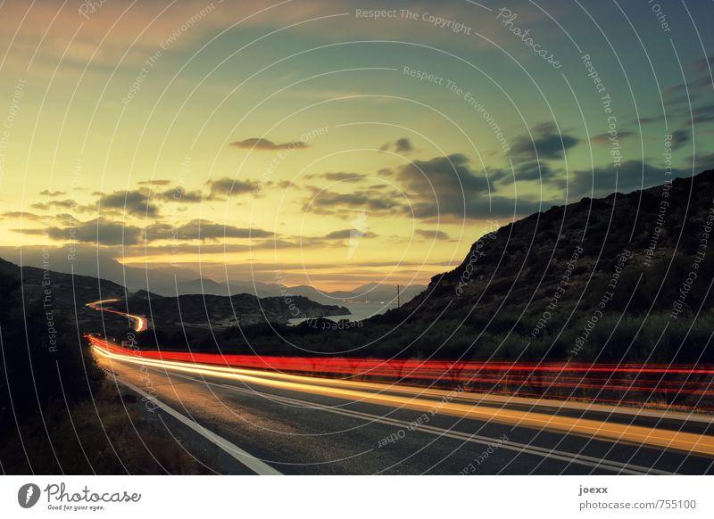 Reise auf Kreta Ferien & Urlaub & Reisen Freiheit Himmel Wolken Horizont Schönes Wetter Berge u. Gebirge Küste Insel Verkehr Straßenverkehr fahren mehrfarbig