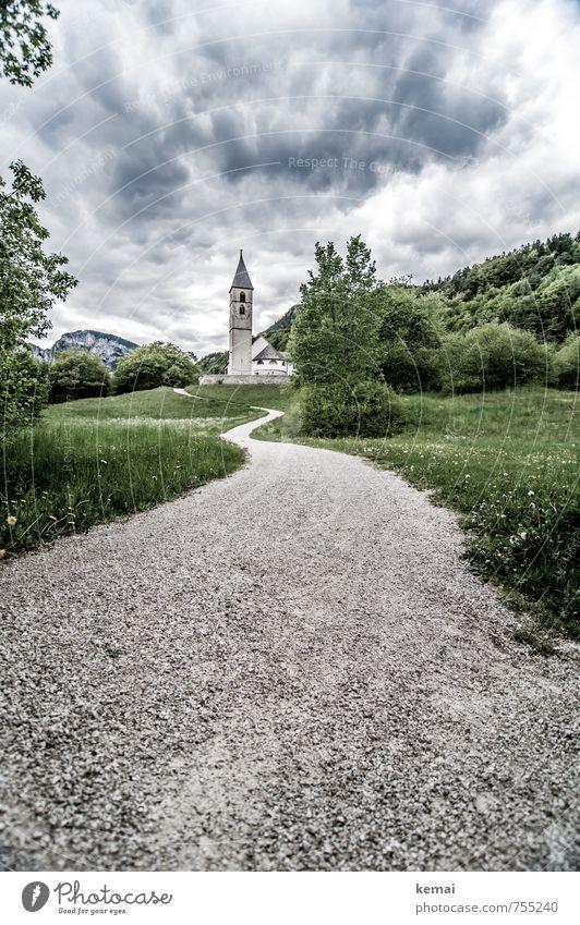 Steine pflastern den Weg Natur grün Baum Landschaft Wolken dunkel Umwelt Straße Gefühle Wiese Wege & Pfade Gras grau Sträucher gefährlich Kirche