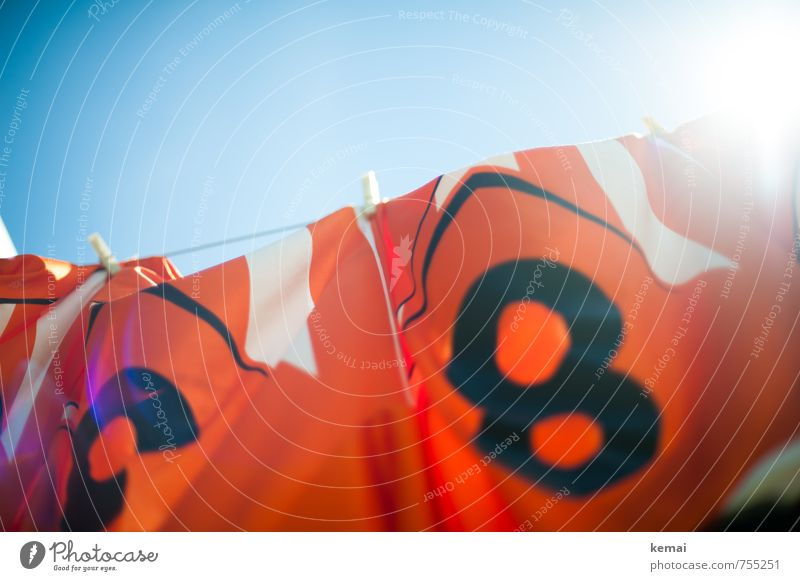 Frisch gewaschen zur WM Himmel blau Sommer Wärme Sport orange frisch Bekleidung Schönes Wetter Sauberkeit Ziffern & Zahlen T-Shirt Wolkenloser Himmel trocknen