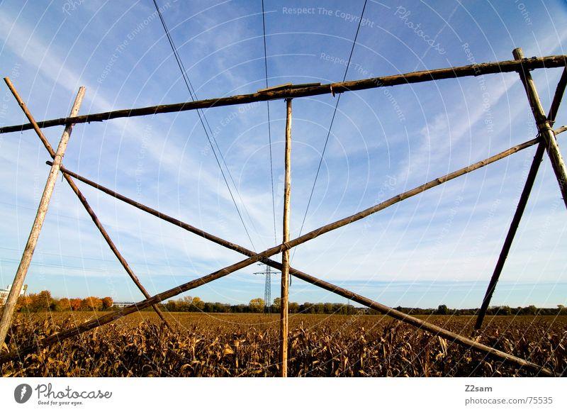 Herbstfeld Feld Himmel Elektrizität Holz Pfosten Landwirtschaft gelb Sonne sun sky blue blau Seil gestänge Baugerüst Mais Ackerbau