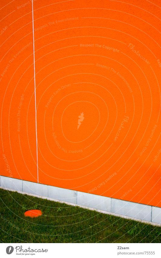 punktiert grün Farbe Wiese Wand Gras Linie orange Punkt Golf grell Schichtarbeit Arbeit & Erwerbstätigkeit
