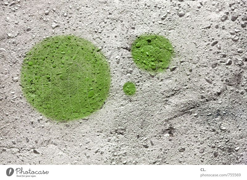 grüne punkte Mauer Wand Stein Graffiti rund Stadt silber Farbe Inspiration Kreativität Kreis 3 Farbfoto Außenaufnahme abstrakt Strukturen & Formen Menschenleer