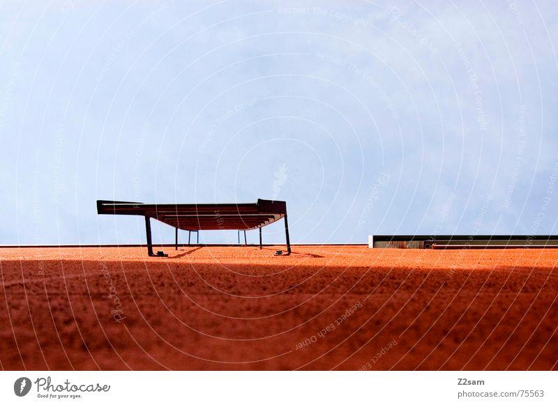 fire stairs orange Wand Fenster Wolken vorwärts geradeaus Treppe Himmel blau blue oben