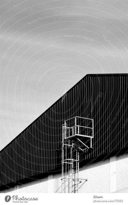 notausgang Notausgang Feuerleiter Holz Holzdach Dach Haus Fabrik Treppe Geländer Leiter Industriefotografie industrial
