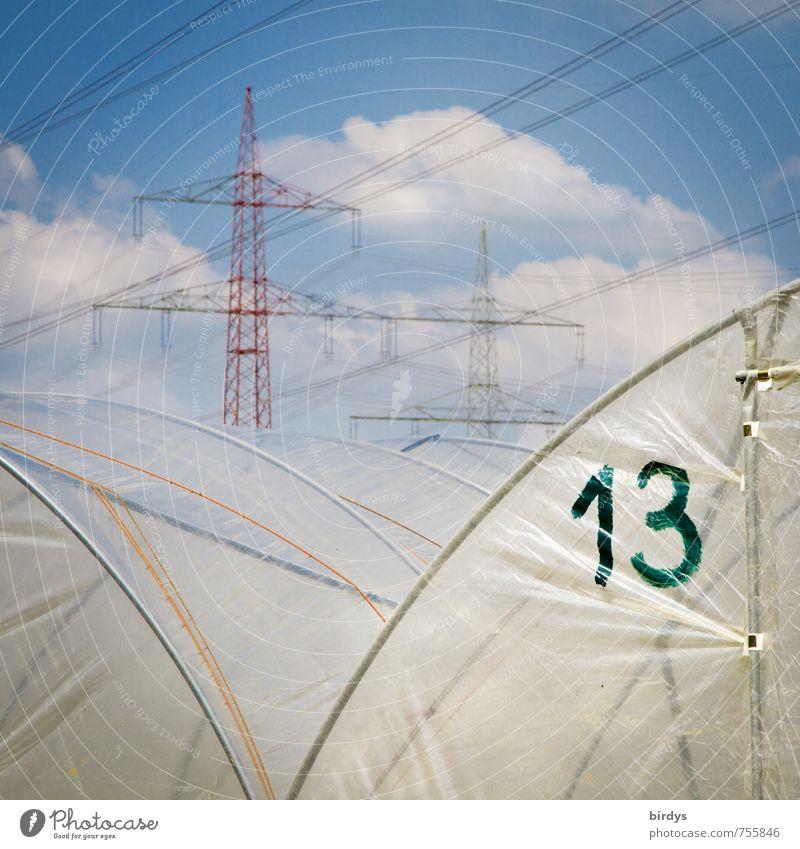 13 Energiewirtschaft Hochspannungsleitung Himmel Wolken Schönes Wetter Gewächshaus hässlich Business Handel Obstbau Gemüsebau Volksglaube Pechzahl Glückszahl