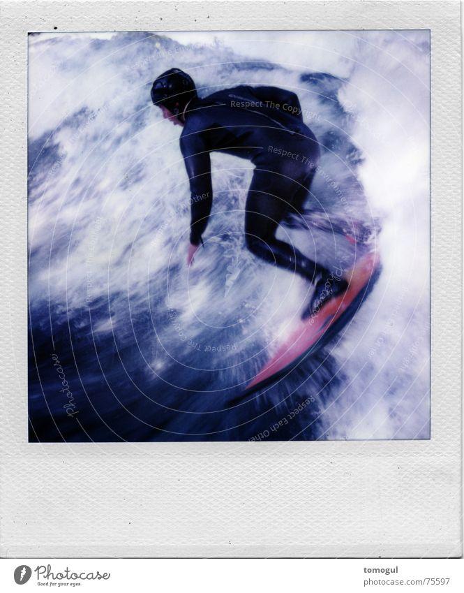. Sport Polaroid Filmmaterial München Englischer Garten Surfer Surfbrett Eisbach