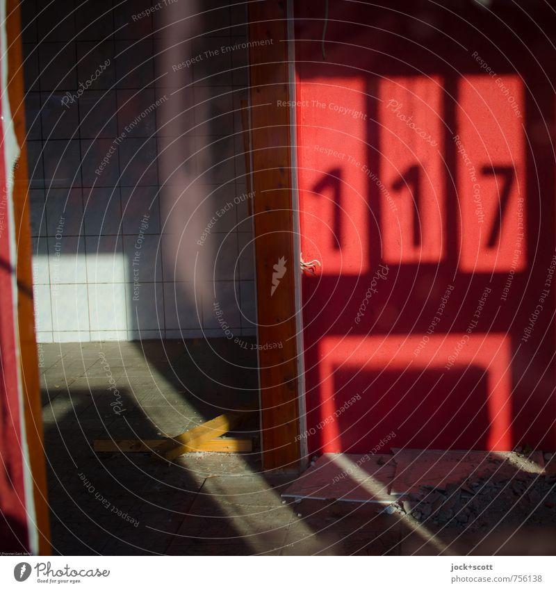 117 Sommer rot Ferne Wärme Wand Mauer Zeit Glas frei Schönes Wetter Wandel & Veränderung Ziffern & Zahlen Zukunftsangst Ende Fliesen u. Kacheln Stahlkabel