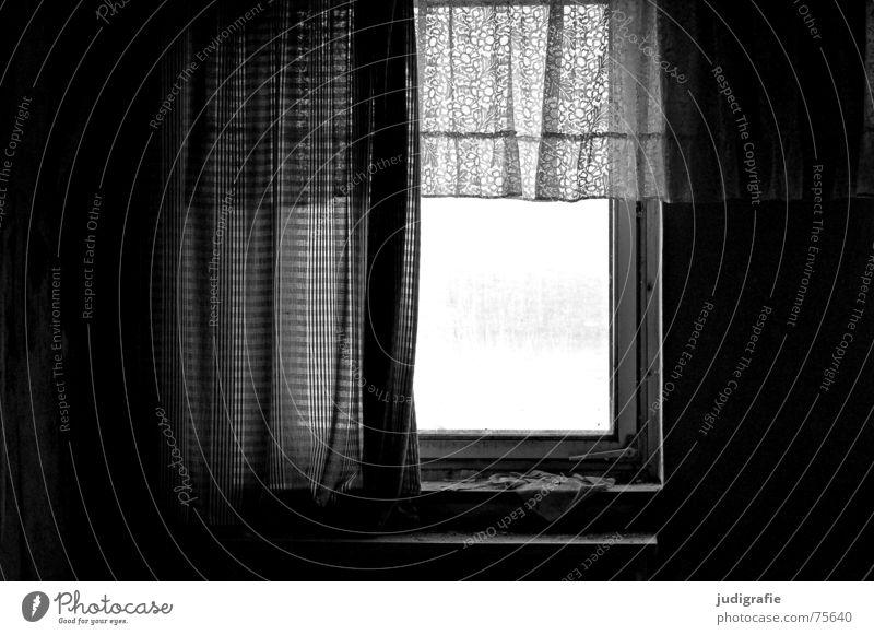 Heimtextilien II alt weiß schwarz Haus Fenster grau Mauer Gebäude Wohnung kaputt Spitze Vergänglichkeit Idylle verfallen Ruine Putz