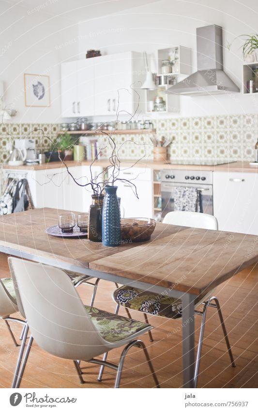 küche Häusliches Leben Wohnung Innenarchitektur Dekoration & Verzierung Möbel Stuhl Tisch Küche Freundlichkeit hell natürlich schön Farbfoto Innenaufnahme