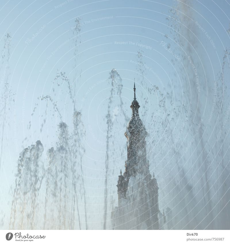 Plaza de España, Sevilla Wasser Wassertropfen Wolkenloser Himmel Sommer Schönes Wetter Wärme Park Spanien Andalusien Palast Platz Turm Brunnen Wasserfontäne