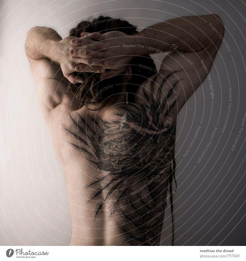 NADELSTICH Lifestyle Stil Körper Mensch maskulin Mann Erwachsene Haut Rücken 1 18-30 Jahre Jugendliche ästhetisch außergewöhnlich dunkel gruselig einzigartig