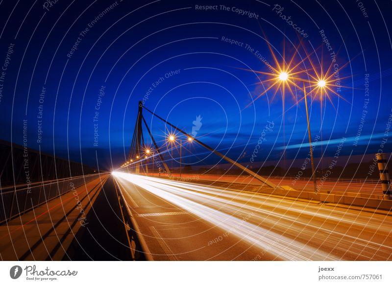 Starlight Express Brücke Verkehr Straßenverkehr Autofahren Autobahn hell Geschwindigkeit blau braun orange schwarz Konkurrenz Mobilität Ferien & Urlaub & Reisen