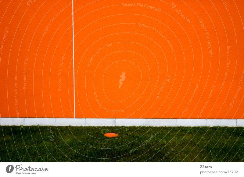 minimal Wand abstrakt sehr wenige Geometrie Linie Wiese Gras grün orange reduzieren einfach Strukturen & Formen Kreis Punkt Trennung