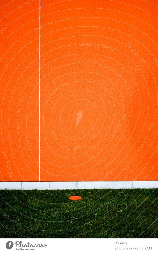 minimal II Wand abstrakt sehr wenige Geometrie Linie Wiese Gras grün orange reduzieren einfach Strukturen & Formen Kreis Punkt Trennung