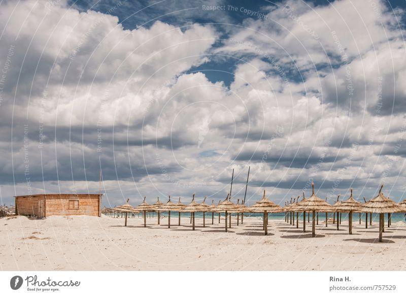 VorSaison V Erholung Ferien & Urlaub & Reisen Tourismus Sommerurlaub Sonne Strand Meer Himmel Wolken Frühling Schönes Wetter Holzhütte Sonnenschirm Nebensaison