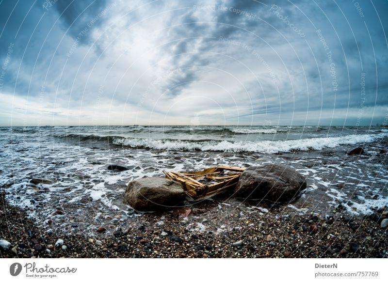Strandgut Umwelt Natur Wasser Himmel Wolken Horizont Ostsee Meer blau schwarz weiß Stein Wellen Mecklenburg-Vorpommern Farbfoto Außenaufnahme Menschenleer