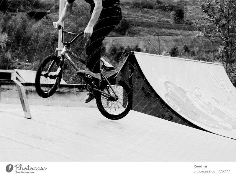 runter kommen sie alle Park Halfpipe springen Rampe Schanze Drehung Sport Aktion Stunt Fahrrad Motorradfahrer Stil Lifestyle Punk Risiko BMX skaterpark 360
