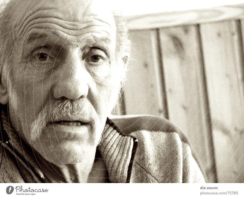 Opa Kurt Mann alt Falte Großvater Nachmittag Oberlippenbart Stirnfalte