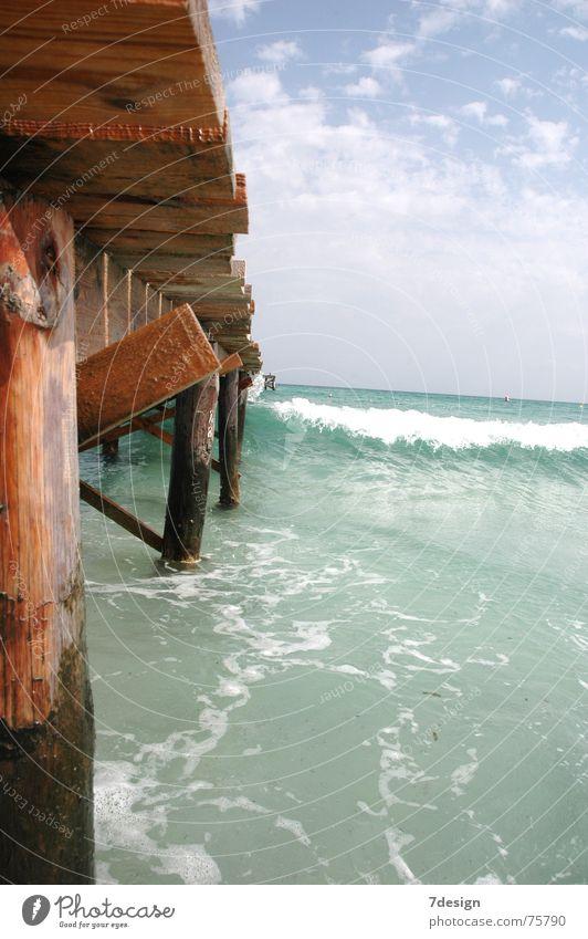 Steg Wellen Meer Holz Wasser Sand Himmel