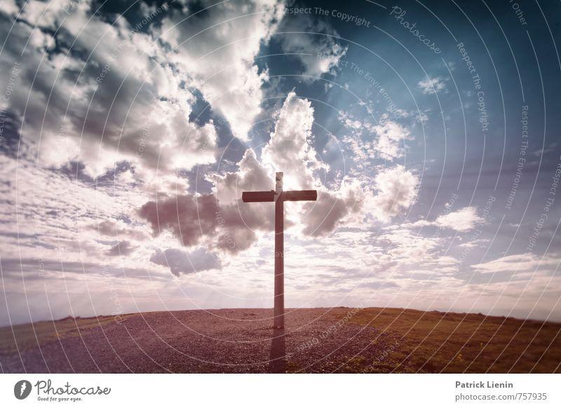 Glaubensfrage Natur Wolken Umwelt Berge u. Gebirge Senior Religion & Glaube Horizont Kraft Zufriedenheit Schilder & Markierungen Hinweisschild Macht Schutz