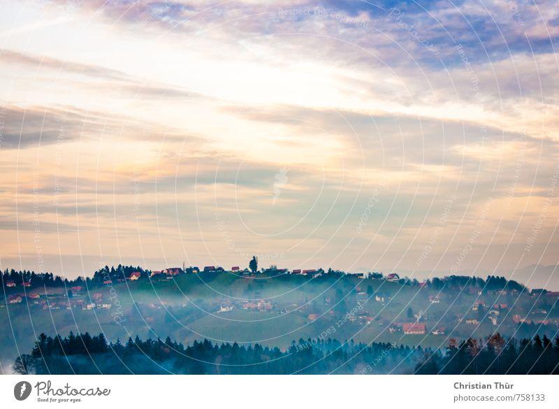 Herbstnebel in der Südsteiermark Natur Ferien & Urlaub & Reisen blau grün weiß Wolken Freude gelb Umwelt Berge u. Gebirge Gefühle Freiheit Erde Feld Tourismus
