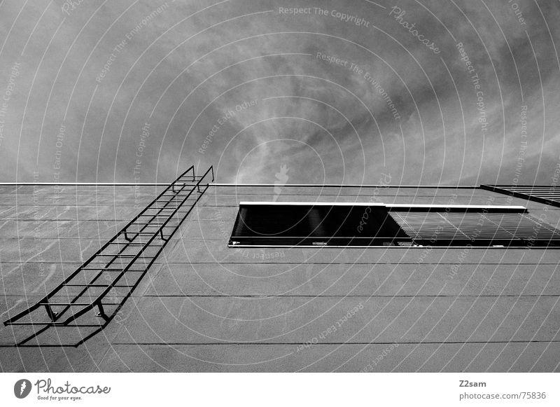 Stairway to heaven Feuerleiter Haus Wand Fassade Fenster Leitersprosse Geometrie einfach Rollo Himmel stairway stairs Treppe Linie aufwärts Schatten Metall