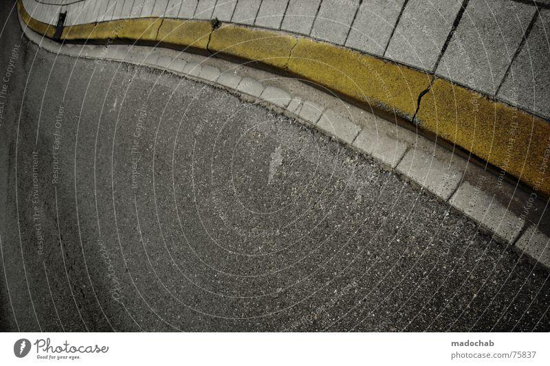 JUST FOLLOW YELLOW Stadt Asphalt grau unten Fußgänger Verkehr trist Muster Hintergrundbild Strukturen & Formen Quadrat graphisch weiß gelb Bürgersteig Stil