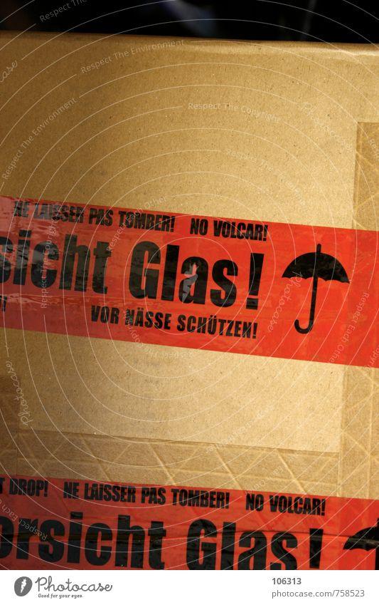 sicht Glas! Regenschirm Zeichen Schilder & Markierungen Hinweisschild Warnschild rot schwarz Sicherheit Klebeband Paket Versand Schutz Vorsicht