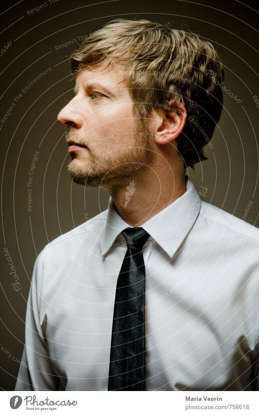 Business Stil Büroarbeit Erfolg Mensch maskulin Mann Erwachsene 1 30-45 Jahre Hemd Krawatte kurzhaarig Bart Dreitagebart Blick modern Coolness Kraft